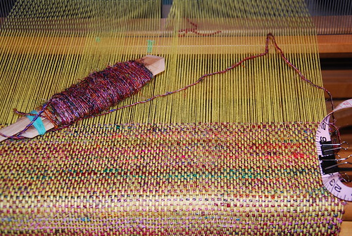 Weaving sari silk cotton table runner by irieknit